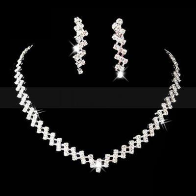 Günstigstes Glänzende Strass Kristalle Hochzeit Braut Brautjungfer Halskette und Ohrringe Schmuck-Set Kostenloser Versand Auf Lager