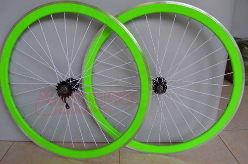 Zycle Fixie 45mm Black and Green Bicycle Rims