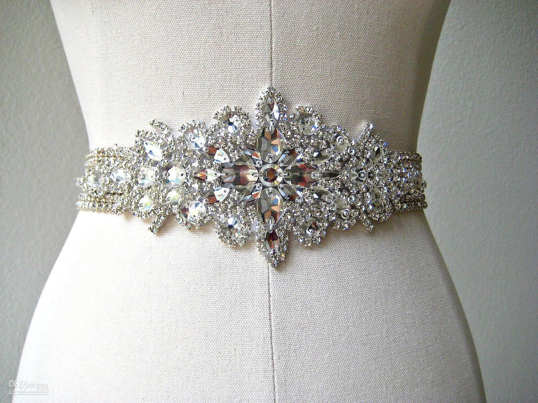 شحن مجاني مخصص المتأنق الثقيلة الديكور حجر الراين بلورات الزفاف حزام الزفاف الزفاف التبعي الزنانير الزفاف
