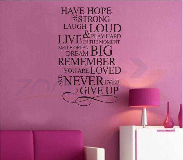 tener esperanza cita de inspiración tatuajes de pared zooyoo8033 decoración de pared pegatinas de pared de vinilo removible