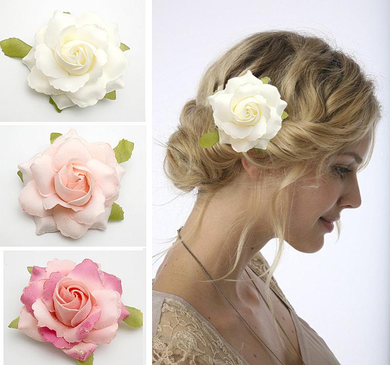 10px Bridal Hair Flower Rose Flower Clip Wedding Party Bridesmaid