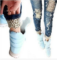 Wholesale Jeans Woman Size 32 - High quality Female leopard print wearing white retro finishing hole butt-lifting pencil jeans roll up hem applique Size:26-32