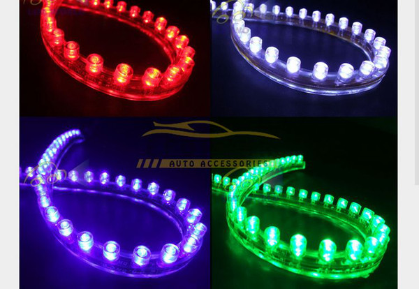 Interior&External Lights 10x Side 24CM LED Flexible Car Grill Strip Light Waterproof Free Shipping Hot New Good