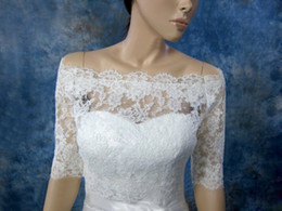 Wholesale Half Sleeve Lace Bolero - Free Shipping Off Shoulder 2015 See Through Lace Wedding Wraps Jackets Bridal With Half Sleeve W20140033 Handmade Appliques Modern Spring