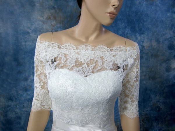 top popular Free Shipping Off Shoulder See Through Lace Wedding Wraps Jackets Bridal With Half Sleeve Handmade Appliques Modern Spring 2021