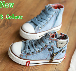 Chaussures De Sport En Denim Pas Cher-Hot 2015 nouvelle Arrivée Enfants Chaussures Denim Jeans Zipper Sneakers Boys Girls Casual enfants sport Chaussures 3 couleurs