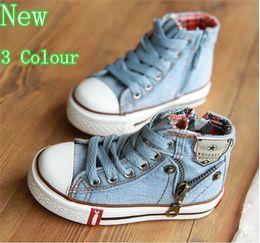 Wholesale Casual Kids Denim - Hot 2015 new Arrival Kids Shoes Denim Jeans Zipper Sneakers Boys Girls Casual children sport Shoes 3 color