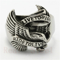 Wholesale Wholesale Flies China - Fast Shipping Hot Selling Silver Flying Eagle Ring 316L Stainless Steel Man Boy Fashion Jewelry Ride To Live Biker Style Ring
