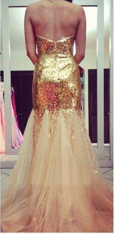 Guld Sequins Golvlängd Court Train Sheath Sweetheart Beading Luxury Backless Evening Dresses Prom Klänning Gratis Frakt Ny Ankomst