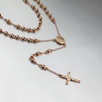 sıcak i̇sa kuyumculuk askıları toptan satış-Sıcak satış gül altın kaplama tespih boncuk İsa çapraz Kolye Kolye erkekler için metal takı