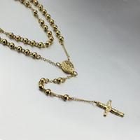 altın kristal tespih toptan satış-6.0mm katı tespih boncuk İsa çapraz kolye kolye 18 k altın gül altın charms erkekler takı boncuk zincir