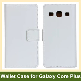 Wholesale Galaxy Core Flip Cover - Wholesale Black White Genuine Leather Folding Wallet Flip Cover Case for Samsung Galaxy Core Plus G3500 Free Shipping