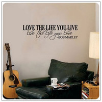 Wholesale Bob Marley Quote Vinyl - Bob Marley Quote Wall Decal Decor Love Life Words Large Nice Sticker Text  Waterpoof Wall Sticker ZOOYOO ZYVA 8098 NA
