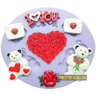 Wholesale Wedding Fondant Molds - Love You Bears  Red Heart Gifts Silicone Fondant Cake Molds Soap Chocolate Mould For Wedding Free shipping