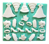 Wholesale High Heel Shoe Molds - Wedding Dresses Cakes High-heeled Shoes Silicone Fondant Cake Molds Soap Chocolate Mould For Baby Shower And Wedding