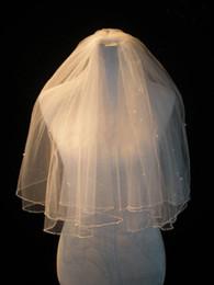 borde de cristal corto velo de novia Rebajas Cristal de marfil blanco Dos capas Velos de novia cortos con borde con cuentas EE.UU. Tul suave Envío gratis