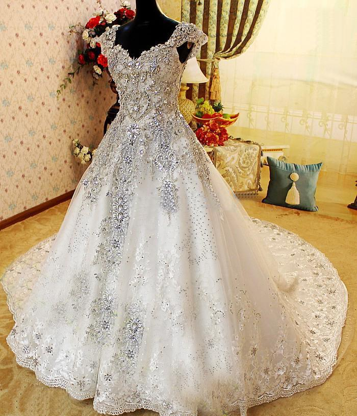 Sharking Amazing Crystle Beaded Cap Sleeve Alencon Lace Ball Gown ...