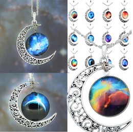 Wholesale Cheap Leather Necklaces - Cheap Price New Vintage Starry Moon Outer Space Universe Gemstone Pendant Mix Models [JN06166*12]