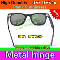 Wholesale Frame Hinges - Excellent Quality Plank Sunglasses Black Frame Metal hinge Sunglasses Fashion Men's Sun glasses Women's glasses unisex glasses