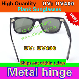 Wholesale Metal Hinge Sunglasses - Excellent Quality Plank Sunglasses Black Frame Metal hinge Sunglasses Fashion Men's Sun glasses Women's glasses unisex glasses