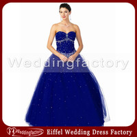 Wholesale Sapphire Blue Ivory - 2014 Modern Sapphire Blue Wedding Dress Ball Gown Strapless Sweetheart Beaded Floor Length Bridal Gowns