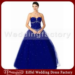 Wholesale Sapphire Blue Ivory - 2014 Modern Sapphire Blue Wedding Dress Ball Gown Strapless Sweetheart Beaded Floor Length Bridal Gowns