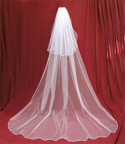 Neues freies Verschiffen-Weiß- / Elfenbein-Art- und Weiseband-Rand-langer zwei Schicht-Brautschleier mit Kamm-Qualitäts-Hochzeits-Zusätzen