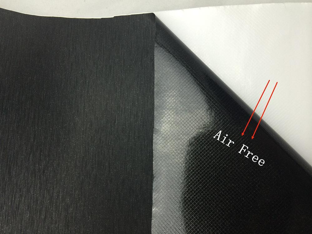 Involucro in vinile nero in alluminio spazzolato Involucro in vinile nero metallizzato Pellicola autoadesiva in metacolor nero Adesivo auto con bolla d'aria libera 1.52x30M / rotolo