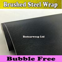 freie luftbürste großhandel-Gebürstetes Aluminium Schwarz Stahl Vinyl Wrap Metallic Schwarz Auto Wrap Film Meta Schwarzbleche Auto Aufkleber mit Luftblase frei 1.52x30M / Rolle