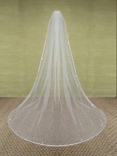 2019 Ny stil Vit Elfenben Ett lager Chepest Wedding Veils Long USA Soft Tulle Crystal Gratis Frakt Hög kvalitet
