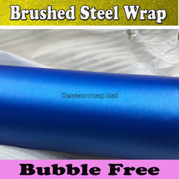 Brushed Blue Steel Canada - Metallic Blue Brushed Aluminum Steel Vinyl For Car Wrap Brushed Film Foile Vehicle Cover Air Bubble Free 1.52x30M Roll