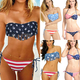 Wholesale Boho Bathing Suits - Newest Summer Lady Push-up Padded USA Bikinis BOHO American Flag Fringe Tassel Bandage Bathing Suits Swimwear Free Shipping