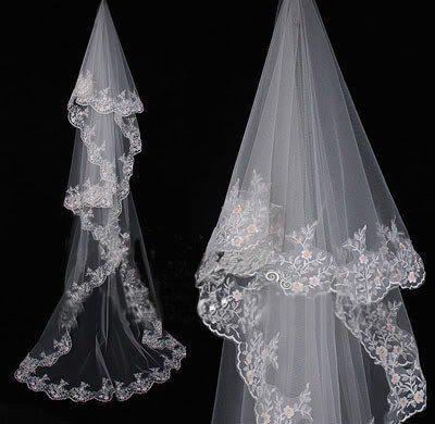 Stokta yüksek Kalite 2019 Dantel Kenar Uzun Gelin Veils Fildişi Beyaz Tül Veils Düğün Gelin Aksesuarları için Ucuz