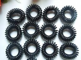Wholesale Elastic Hair Tie Charm - Wholesale-OP-50pcs mini black telephone line ring elastic rubber band hair accessories girl hair tie
