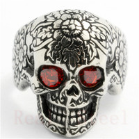 Wholesale ruby boy - Top Quality Ruby Eyes Skull Ring 316L Stainless Steel Man Boy Fashion Jewelry Punk Style Popular Flower Skull Ring