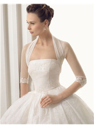 Wholesale Tulle Wedding Boleros - 2014 New Design Half Sleeve Tulle Lace Bridal Jackets for Wedding High Quality Ladies Jackets Bridal Accessories