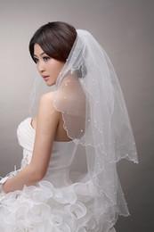 Perle la moins chère en Ligne-Moins cher New court deux couches avec des voiles de mariée de mariage de perle avec un peigne des voiles de mariée ivoire de Pentecôte