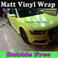 Wholesale Fluorescent Vinyl - Pale Green Fluorescent Yellow Matte Vinyl Film For Car Wrap with Air Bubble Free Vehicle Graphic wrap 1.52x30m Roll Free Shipping