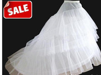 Wholesale Cathedral Petticoats - 2014 Free Shipping in Stock White A-Line Train Petticoats Bridal Crinoline Underskirt for Wedding Gowns Bridal Accessories