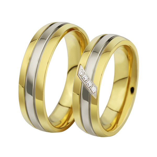 Engagement wedding ring Hot sale 18k gold couple rings for men and women stainless steel ring CR-028 Wedding party Jewelry Gift