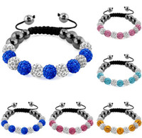 Wholesale White Shamballa Men - 10 mm new arrival white black Hematite Fashion mixed Crystal Shamballa Bracelets Gifts Bangles spacer men women AB clay