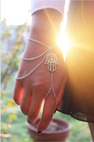 Wholesale Finger Bangles - 2014 NEWEST Fashion Jewelry Asymmetric Men Women's Tassel Hamsa Fatima Bracelet Finger Ring Slave Chain Hand Harness Bangle [JB06124*2]