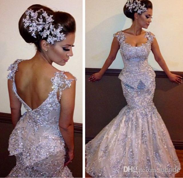 2014 Bling Mermaid Wedding Dresses Sexy Sheer Straps