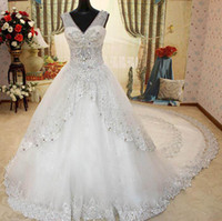 Wholesale Bandage Wedding Ball Gown - New V neck Beading Sequin Crystals Court Train Biling Biling Bandage Ball Gown Wedding Dresses