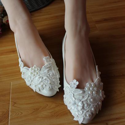 Elegant Lace Wedding Shoes Pearls Ivory Low Bateau Bridal Shoe ...