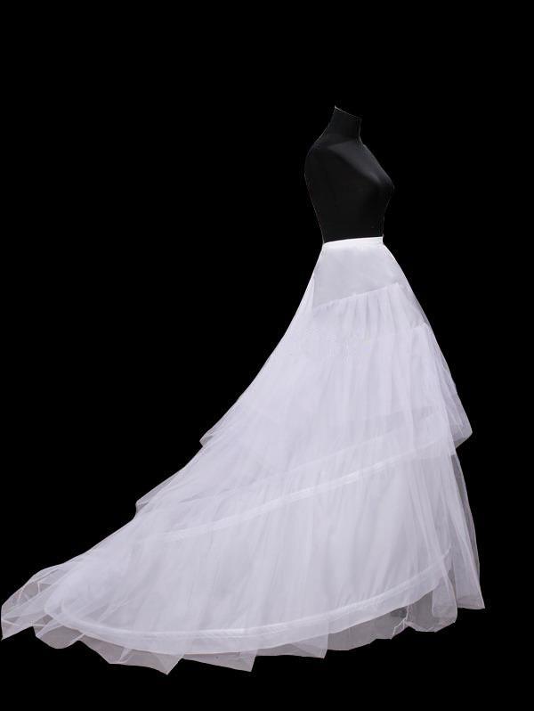 Neue heiße Verkäufe geben Verschiffen auf Lager frei Weiße Braut-Hochzeits-Kleid-Petticoat-Krinoline mit Kapelle-Zug