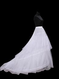 Wholesale Chapel Train Hoop Petticoat - New Hot Sales Free Shipping In Stock White 3-hoop Bridal Wedding Dress Petticoat Crinoline With Chapel Train