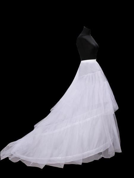 New Hot Sales Frete Grátis Em Estoque Branco 3-hoop Nupcial Vestido De Noiva Crinolina Anágua Com Trem Da Capela