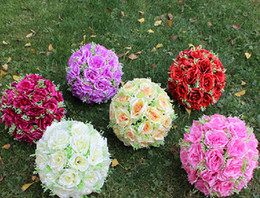 Wholesale Wholesale Kissing Balls New - lastest new fashion 20cm(8inch) Romantic Simulation Rose kissing ball artificial silk flower for wedding party decor