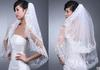New Free Shipping Wedding Accessories White Ivory Fashion Short Two Layer Lace Bridal Veils With Comb Appliques High Quality